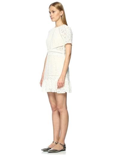 Dantelli Pileli Mini Elbise-Foxiedox